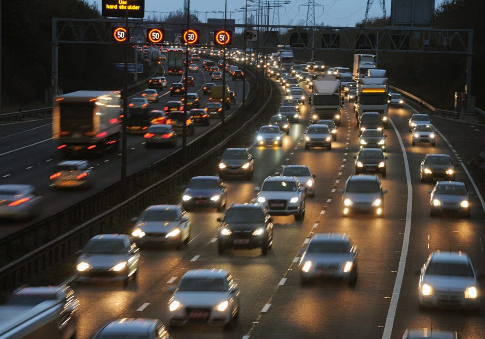 Rush Hour Traffic on the M6 Motorway, Walsall, West Midlands,UK,2014.